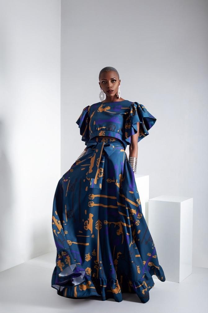 Mudcloth A-line skirt